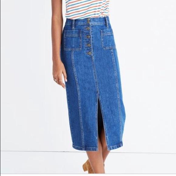 63219b0c06 Madewell Dresses & Skirts - Madewell high slit denim skirt, size 26